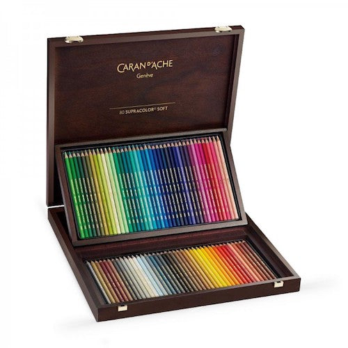 CARAN d'ACHE SUPRACOLOR SOFT COLOURED PENCILS - Wooden Box of 80