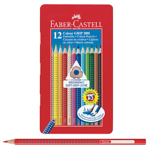 FABER CASTELL GRIP 2001 COLOURED PENCIL TIN - 12 Colours