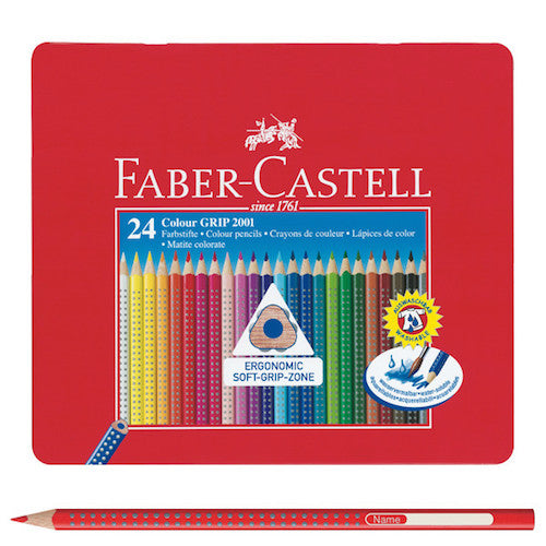 FABER CASTELL GRIP 2001 COLOURED PENCIL TIN - 24 Colours
