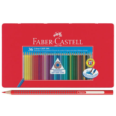 FABER CASTELL GRIP 2001 COLOURED PENCIL TIN - 36 Colours