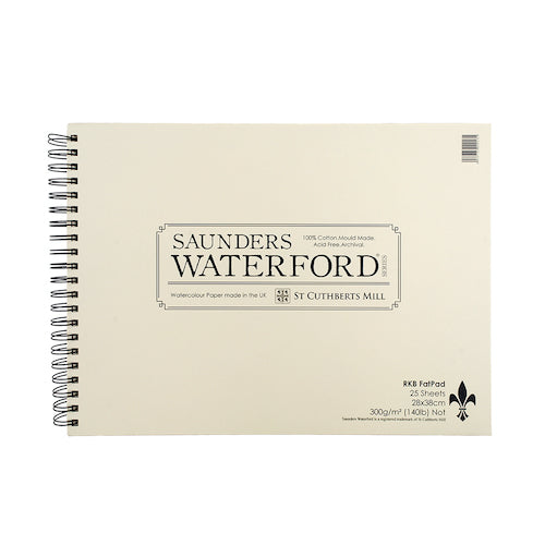 "Saunders Watercolour Paper Pad - Cold Pressed Surface -11 x 15""- 28 x 38cm"