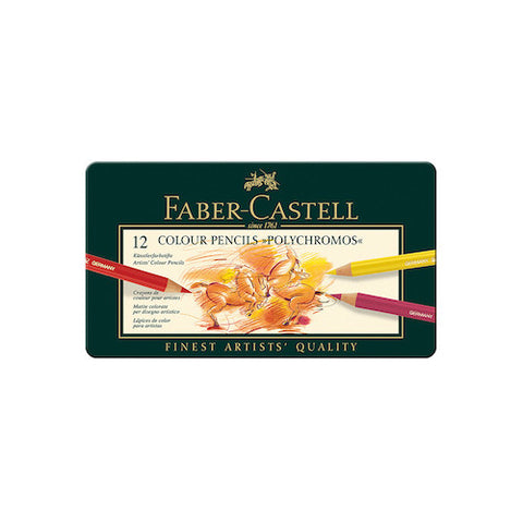 FABER CASTELL Polychromos Colour Pencils - Tin Of 12