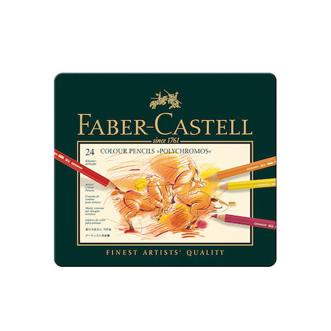 FABER CASTELL Polychromos Colour Pencils - Tin Of 24