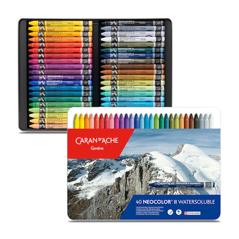 CARAN d'ACHE Neocolor II Watersoluble Wax Pastels - Set of 40
