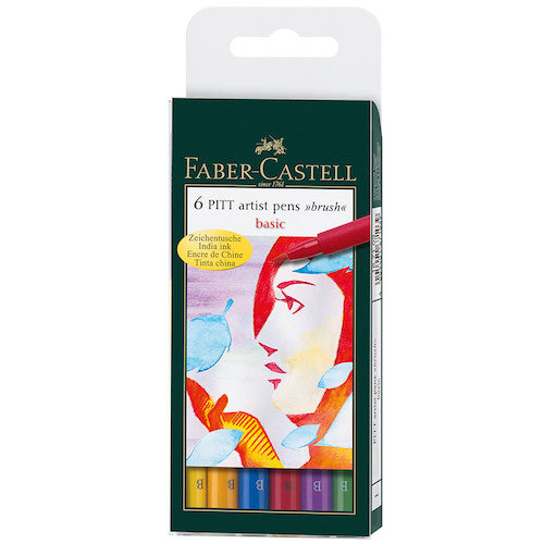 FABER CASTELL Pitt Artist Brush Pen Set of 6 - Basic