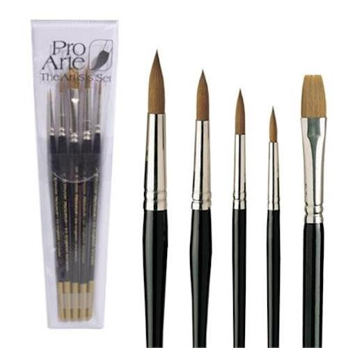 PRO ARTE Prolene Watercolour Brush Set - Five Brushes - W3