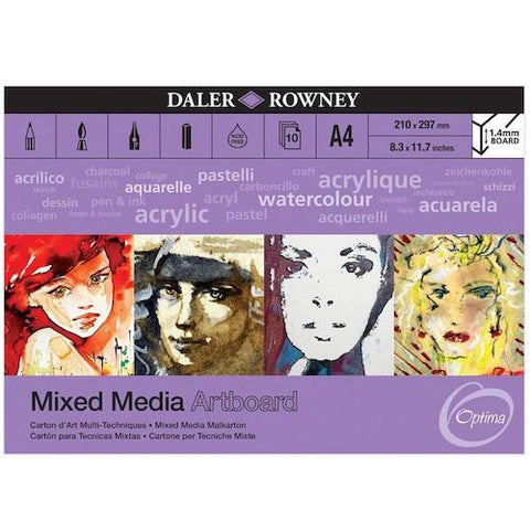 DALER Optima Mixed Media Pad - 10 Sheets of 1.4mm Artboard - A4