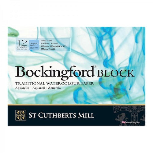 BOCKINGFORD Watercolour Block 140lb - Not Surface - 12 Sheets - 14 x 10 inches