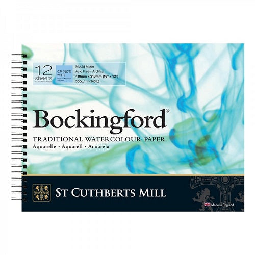 BOCKINGFORD Watercolour Spiral Pad 140lb - Not Surface -12 Sheets - 16 x 12 in