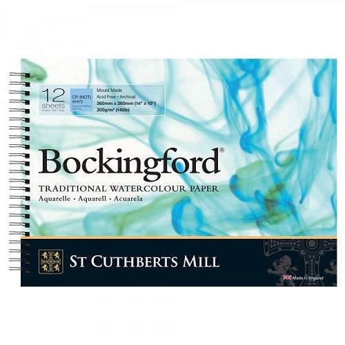 BOCKINGFORD Watercolour Spiral  Pad 140lb - Not Surface - 12 Sheets - 14 x 10 in