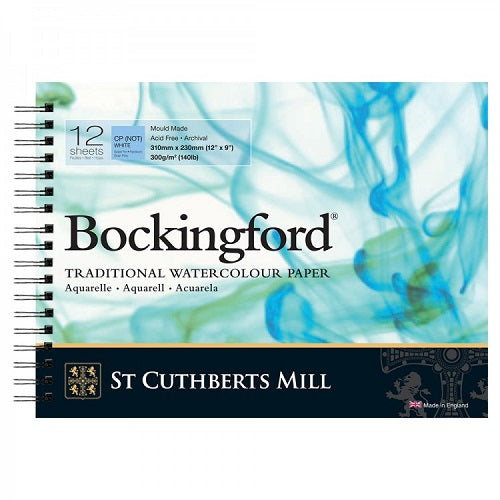BOCKINGFORD Watercolour Spiral Pad 140lb - Not Surface - 12 Sheets - 12 x 9 inches