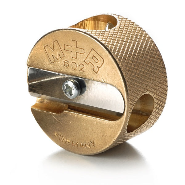 MOBIUS & RUPPERT SOLID BRASS PENCIL SHARPENER - Circular Double