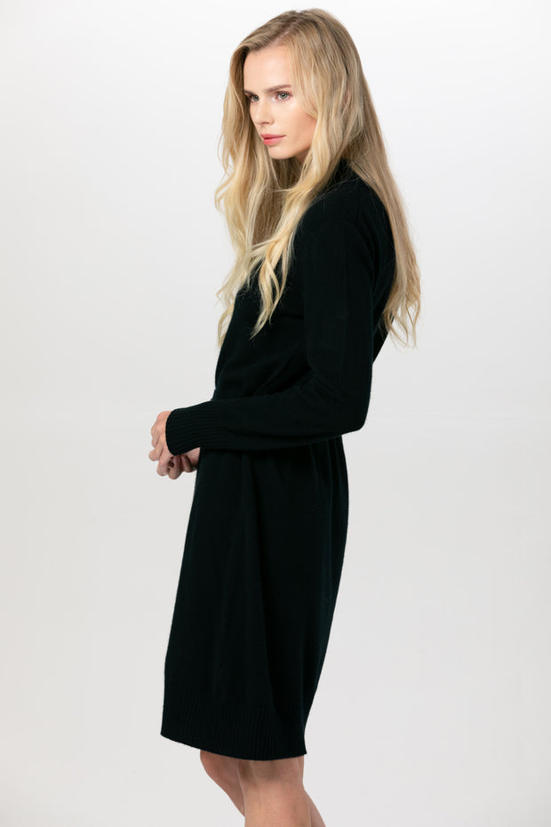 Women's Cashmere High Neck Dress Black -  Gobi Cashmere