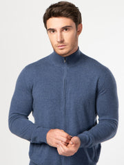 Men's Cashmere Full Zip Stand Collar Cardigan Crown Blue -  Gobi Cashmere
