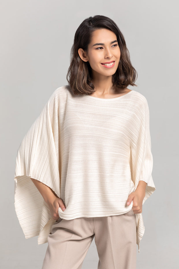 Women's Cashmere Lightweight Cape Jumper Off White - Gobi Cashmere