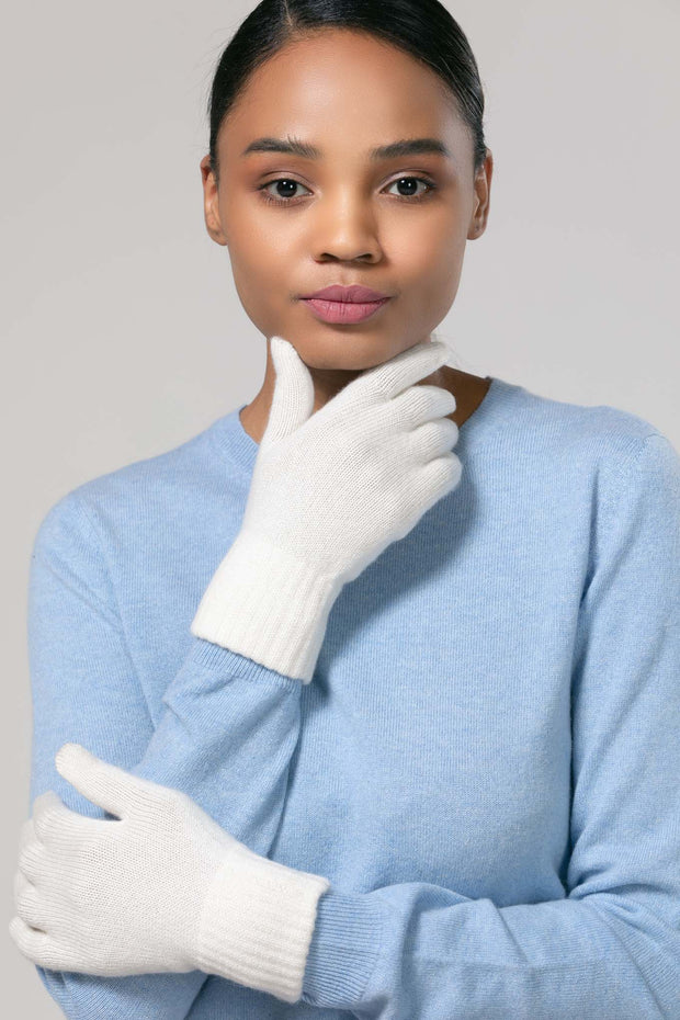 Women's Cashmere Short Gloves White - Gobi Cashmere