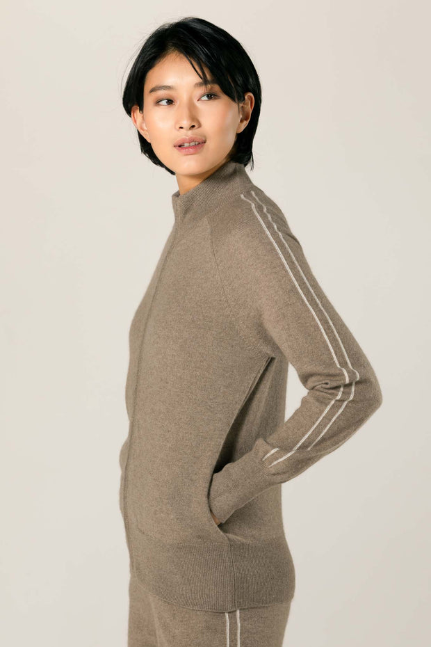 Women's Cashmere Zip Cardigan With Stripe Taupe -  Gobi Cashmere