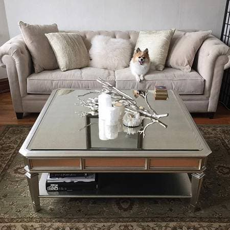 Empire Silver Gold Coffee Table With Shelf - hollywood-glam-furnitures