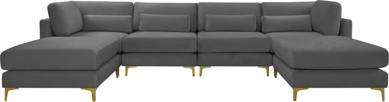 Julia 6 Piece Velvet Modular Reversible Sectional