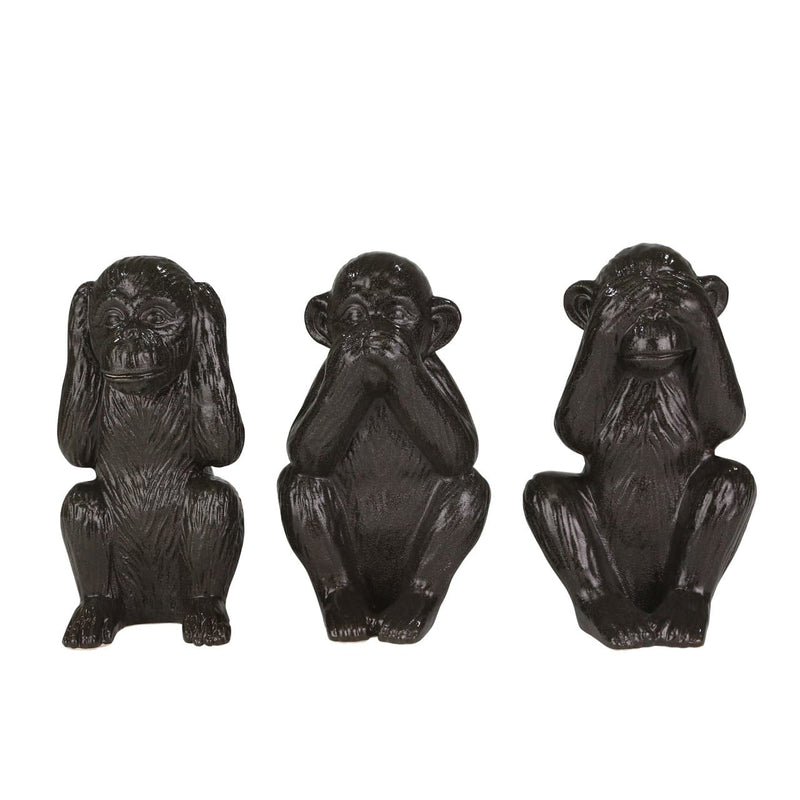"3 Ceramic 12"" Monkeys, Black"
