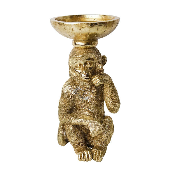 "Resin 9"" Monkey Candle Holder, Gold"
