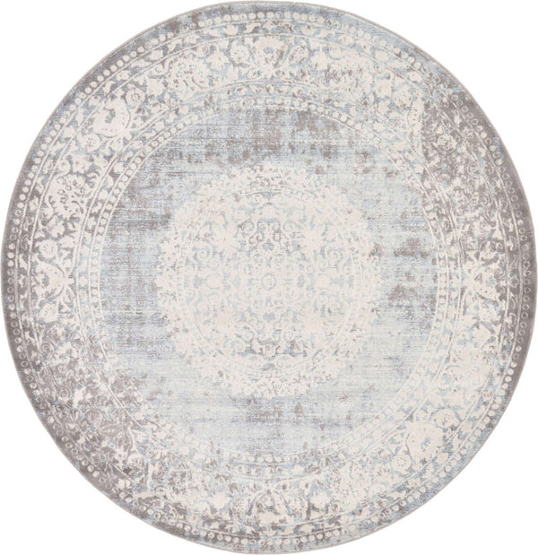 Light Blue New Classical Round Rug