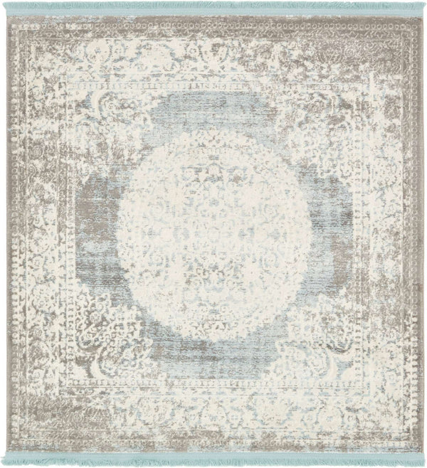 Light Blue New Classical Square Rug