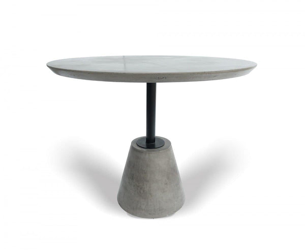 Modrest Nathrop - Modern Grey Concrete & Black Metal Round Dining Table