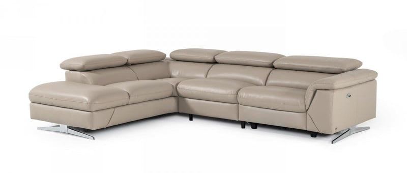 Divani Casa Maine Eco-Leather Sectional Sofa w/ Recliner