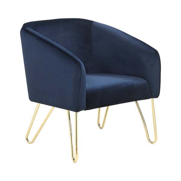France Accent Chair Blue & Brass