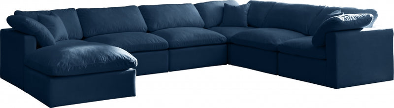 Plush 8 Piece Velvet Standard Modular Overstuffed Reversible Sectional
