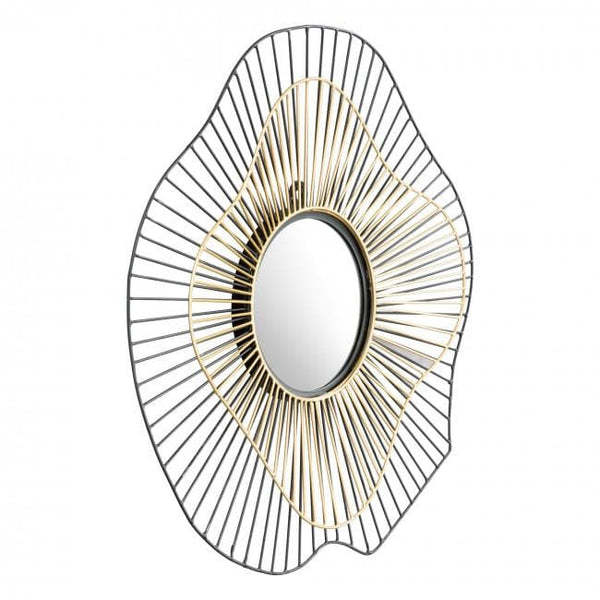 Comet Round Mirror Black & Gold