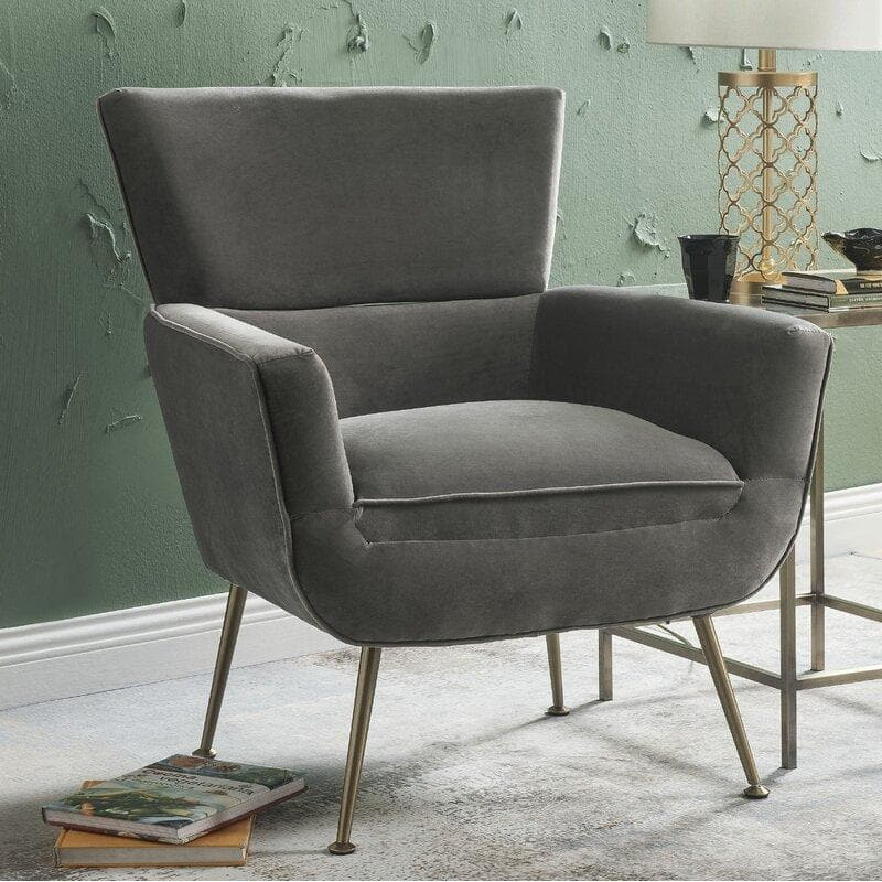 Dones Wingback Velvet Accent Chair