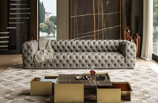 Coronelli Leather Sofa - Italian Grey Nubuck