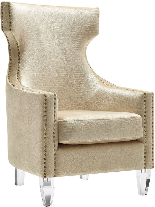 Gramercy Gold Croc Velvet Wing Chair