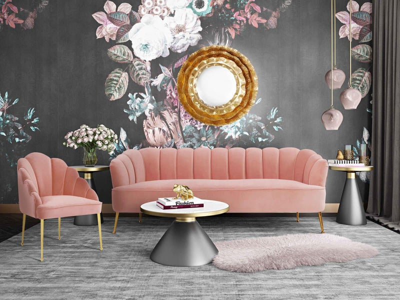 Daisy Petite Blush Velvet Sofa - hollywood-glam-furnitures