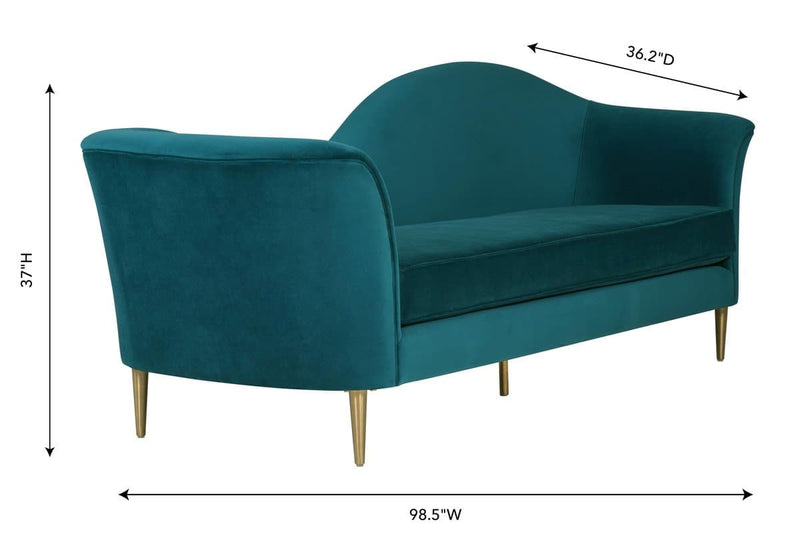 Plato Aqua Velvet Sofa - hollywood-glam-furnitures