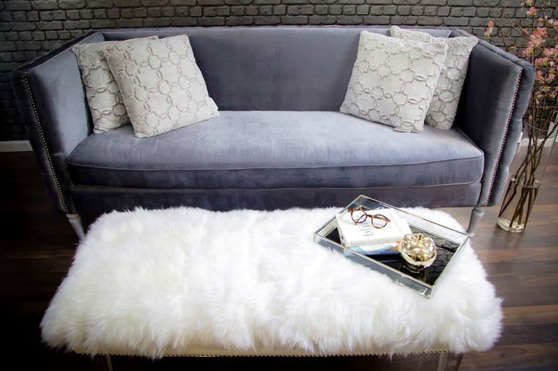 Luxe White Sheepskin Lucite Bench