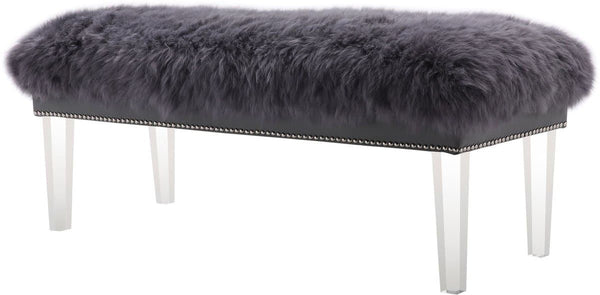 Luxe Grey Sheepskin Lucite Bench