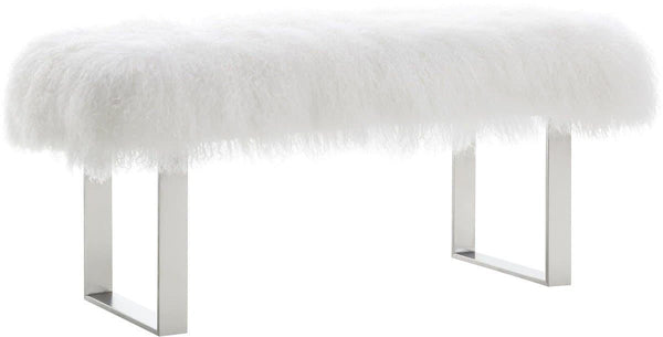 Sherpa Sheepskin Bench with Silver Base