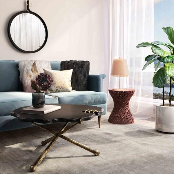Rollo Apricot Textured Side Table