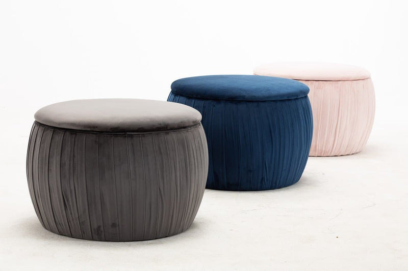 Fleur Grey Velvet Storage Ottoman - hollywood-glam-furnitures
