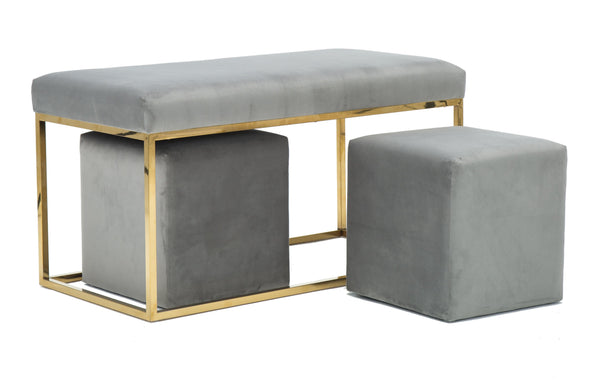 Lila Tri Velvet Bench Set - hollywood-glam-furnitures