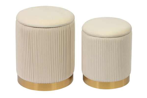 Channeled Storage Ottomans - Set of 2