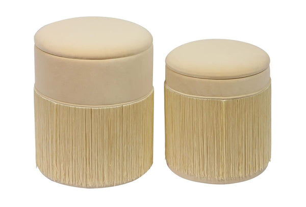 Tassel Cream Storage Ottomans - Set of 2