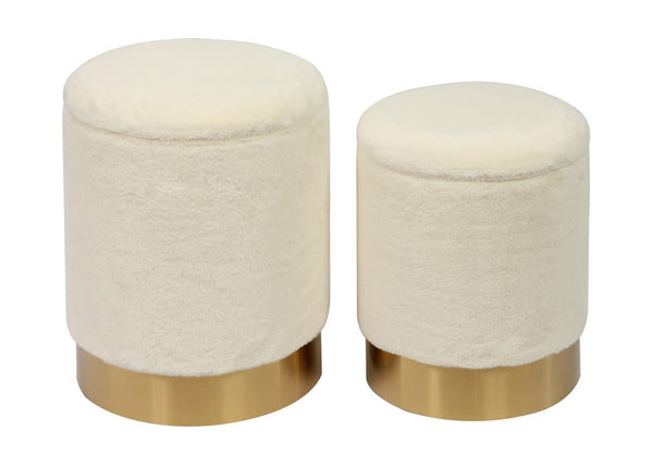 Teddy Faux Sheepskin Storage Ottomans - Set of 2