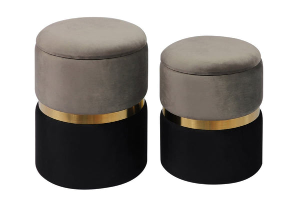 Gigi Grey Storage Ottomans - Set of 2
