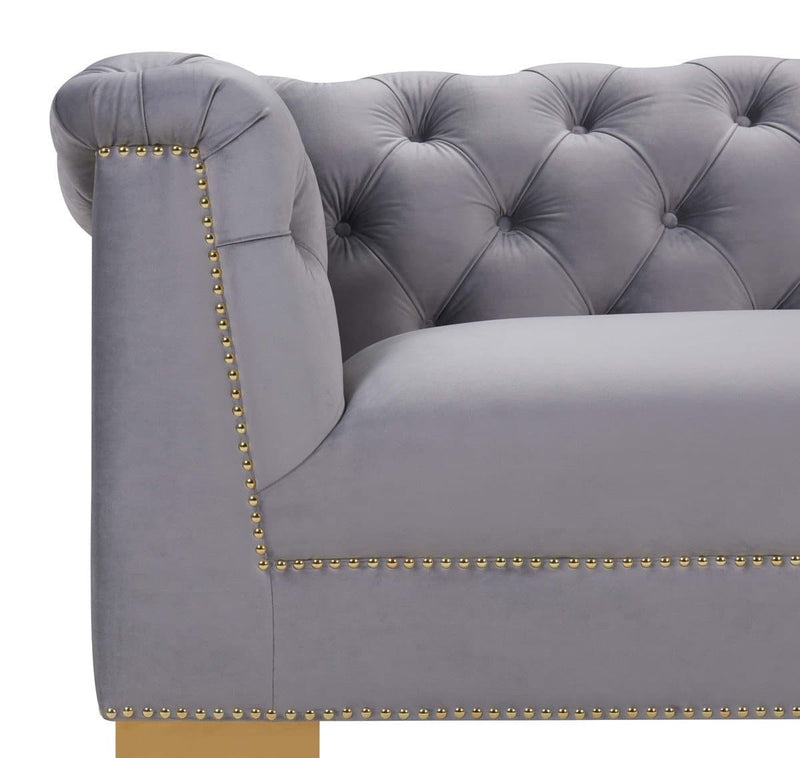 Farah Grey Velvet Sofa - hollywood-glam-furnitures