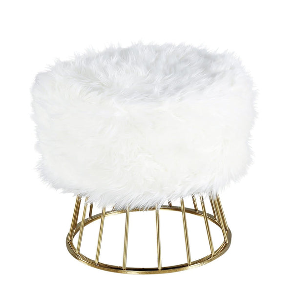 Faux Fur Ottoman with Gold Legs