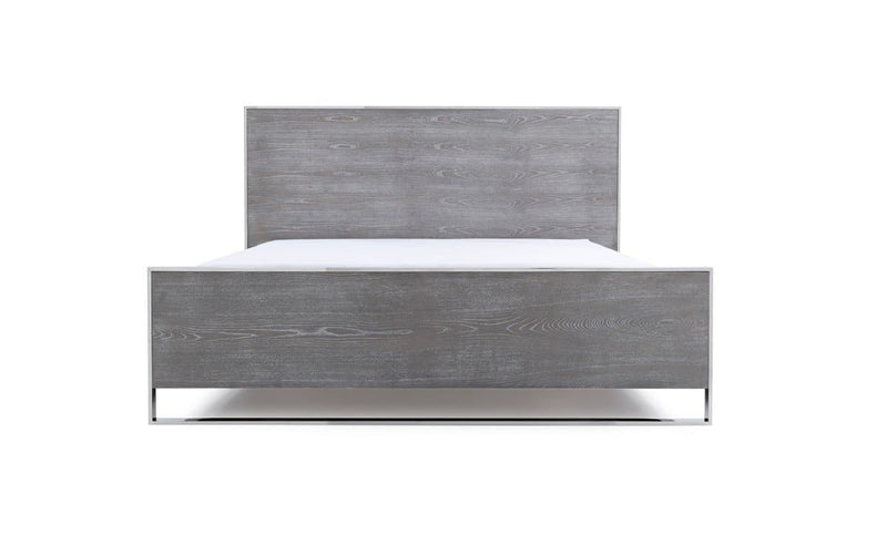 Modrest Charlene Modern Grey Elm & Stainless Steel Bed
